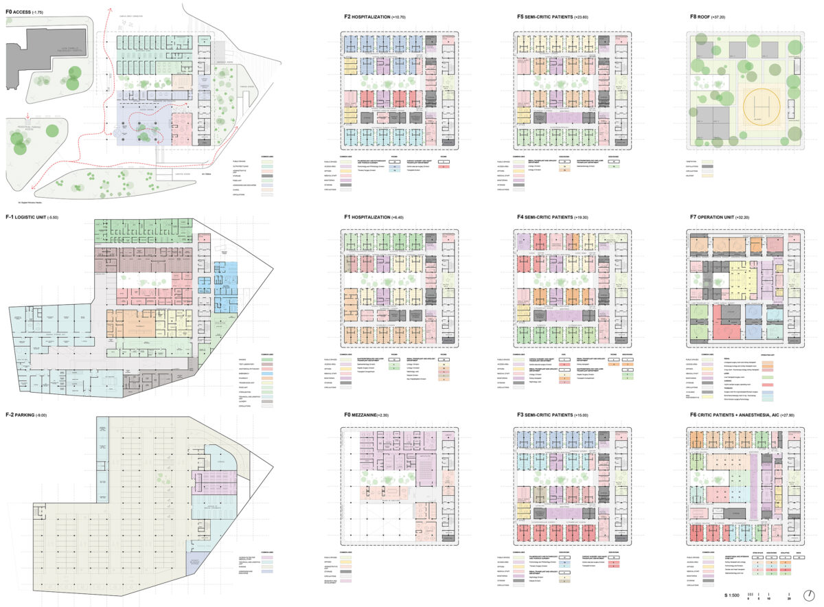 AQSO arquitectos office. Floor plan layouts coded by colours. The hospital comprises several departments and circuits for supplies, linen, patients, medical staff and visitors.