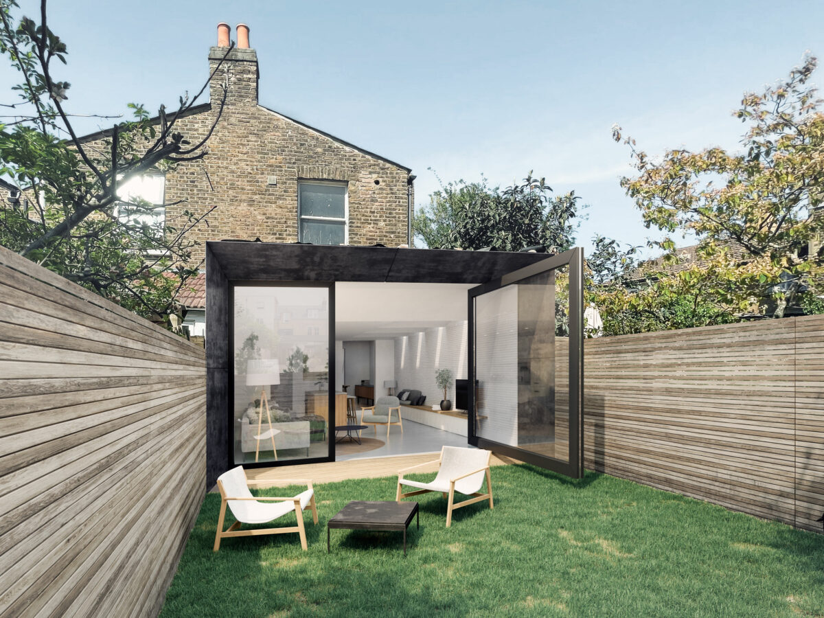 AQSO arquitectos office. The extension of the house offers a contemporary and elegant look, invading the garden as if it were a sophisticated steel and glass box.