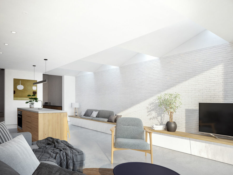 AQSO arquitectos office. The kitchen's extension to the garden provides space for a large living area.
