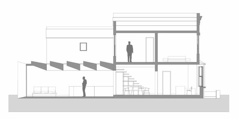 AQSO arquitectos office. La sección del edificio muestra la amplitud del salón, los lucernarios y la relación entre el edificio original y la nueva ampliación hacia el jardín.