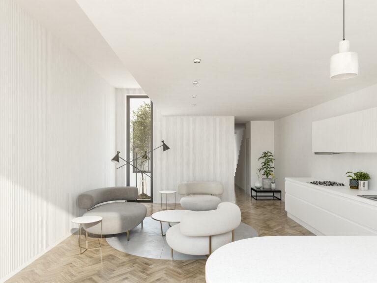 AQSO arquitectos office. La planta baja de la vivienda cuenta con un espacio de doble altura, resultado se suspender parte del forjado de la planta superior. El diseño interior del salón es moderno y funcional.