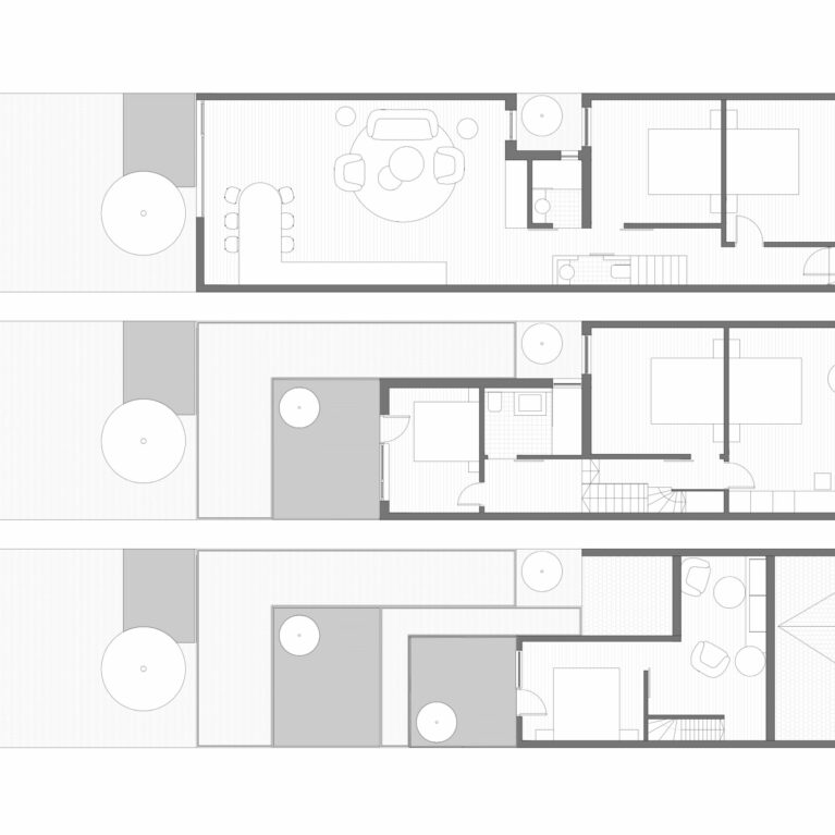 AQSO arquitectos office. Floor plan layouts of the renovated house. Extension of the kitchen on the ground floor, refurbishment of the first floor and loft conversion with a functional and elegant design.