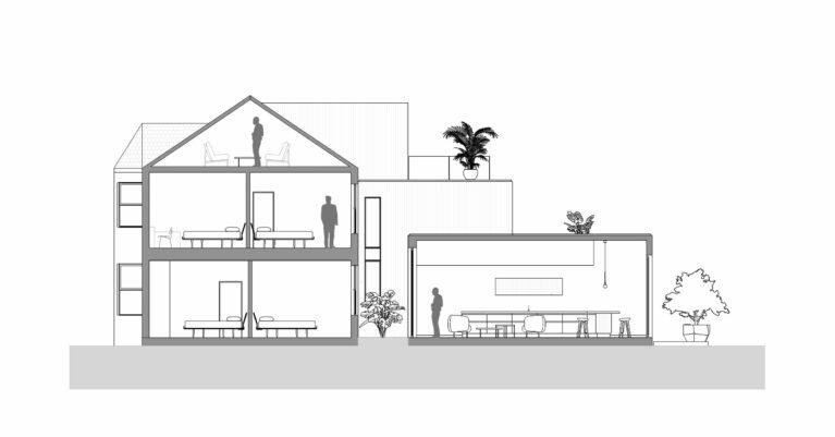 AQSO arquitectos office. La sección del edificio muestra la ampliación de la cocina en planta baja, el nuevo patio interior, las nuevas terrazas de los niveles superiores y la transformación de loft.