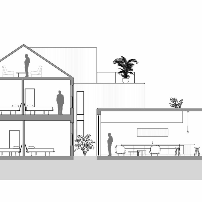 AQSO arquitectos office. The building section shows the kitchen extension on the ground floor, the new inner courtyard, the new terraces on the upper levels and the loft conversion.