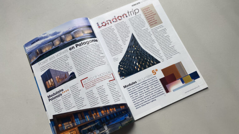Pages of the Hors Site magazine showing the article about the Shoreditch hotel designed by AQSO architects.