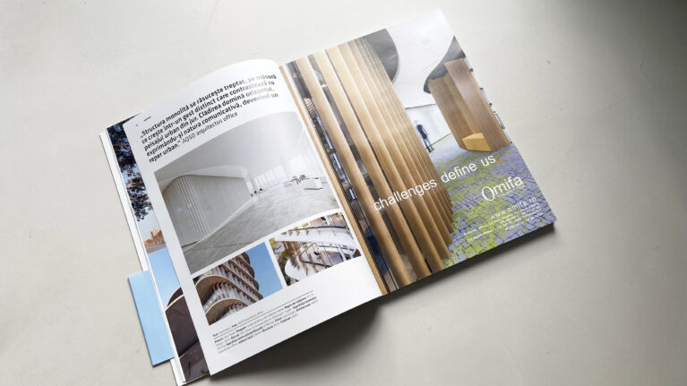 Pages of the Romanian magazine Igloo, featuring the Zain tower, an office building designed by AQSO architects.