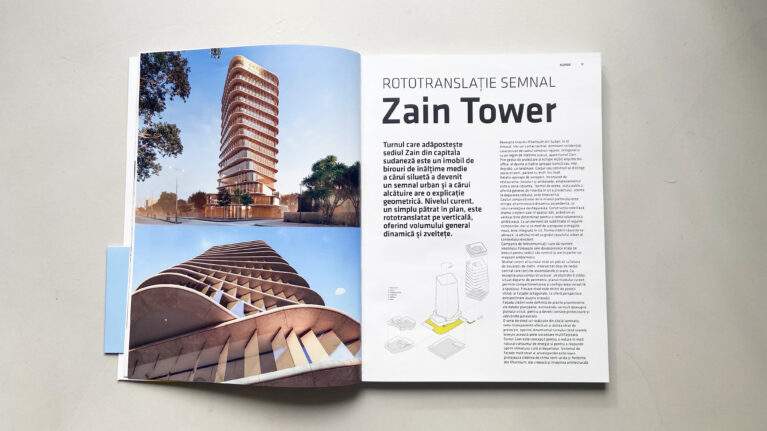 Pages of the Igloo magazine showing the coverage of the Zain Tower project designed by AQSO.